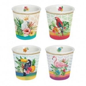 Zestaw 4 kubków TROPICAL FRIENDS 100 ml