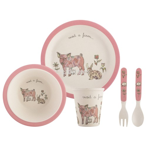 CREATIVE TOPS VISIT A FARM PIG 5PC KIDS PRESSED BAMBOO DINNER SET magicznemieszkanko.pl