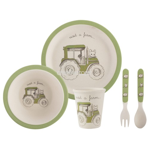 CREATIVE TOPS VISIT A FARM TRACTOR 5PC KIDS PRESSED BAMBOO DINNER SET magicznemieszkanko.pl